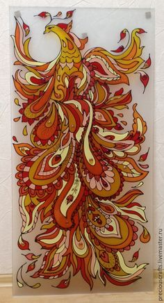 Picture   Hand painted stained glass. Red, orange, yellow, brown.