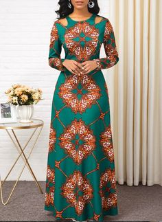 Women'S Green Tribal Print Long Sleeve High Waisted Dress Muslim Maxi Evening Party Dress By Rosewe High Waist Long Sleeve Tribal Print Dress Latest African Fashion Dresses, African Print Dresses, African Dresses For Women, African Print Fashion, African Attire, Women's Fashion Dresses, Ankara Fashion, Ankara Dress Styles, Modern African Dresses