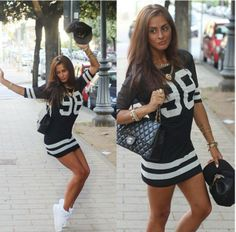 Football jersey dress. Snap back