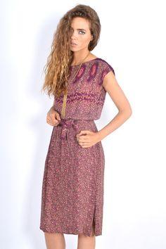 Vtg 70s Purple Ethnic Paisley Boho Hippie Festival Gypsy MIDI Sun Dress XS S   eBay