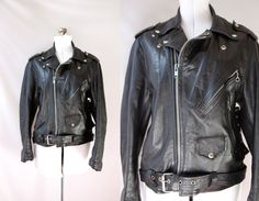 Vintage Motorcycle Jacket Black Leather Womens by VintageCommon, $155.00