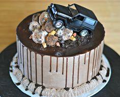 Chocolate Jeep cake, ganache drip, oreo truffle rocks