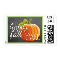 Happy Fall Yall Pumpkin On Blackboard Postage - calligraphy gifts custom personalize diy create your own