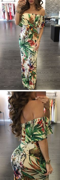 ANYWHERE is my show place. Sexy shoulder need off shoulder maxi dress !