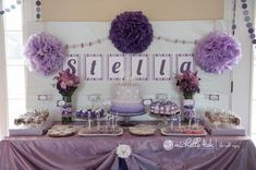purple and white theme 1st birthday party   Pinterest Stella's 1st Birthday Party0002