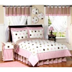 Pink and Chocolate Mod Dots Bedding Set by Sweet Jojo Designs by JoJo Designs - Pink and Chocolate Mod Dots Pink Comforter Sets, Teen Bedding Sets, Pink Bedding, Luxury Bedding, Queen Bedding, Twin Comforter, White Bedding, Baby Bedding, Brown Comforter