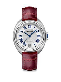 Cartier Clé de Cartier Stainless Steel & Alligator Strap Watch/35MM