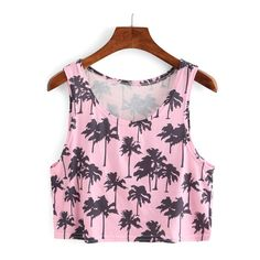 Tree Print Tank Top ❤ liked on Polyvore featuring tops, print tank, pink top, pink tank, print tank top and pattern tops