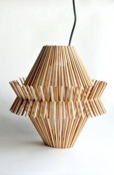 Functional Decor Made From Recycled Chopsticks - crafts diy lights Diy Crafts To Do, Diy Arts And Crafts, Creative Crafts, Wood Crafts, Diy Popsicle Stick Crafts, Popsicle Sticks, Bamboo Architecture, Stick Art, Chopsticks