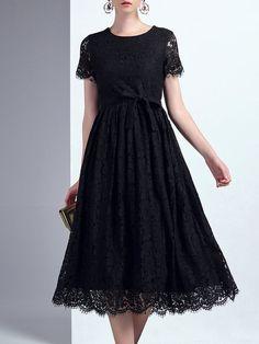 Shop Midi Dresses - Black Lace Short Sleeve Crew Neck Midi Dress online. Discover unique designers fashion at StyleWe.com.
