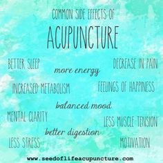 Common side effects of Acupuncture. Seed of Life Acupuncture Blog. Acupuncture in Los Angeles.