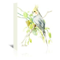 """East Urban Home Cockatiel  Painting Print on Wrapped Canvas Size: 10"""" H x 8"""" W x 0.5"""" D"""
