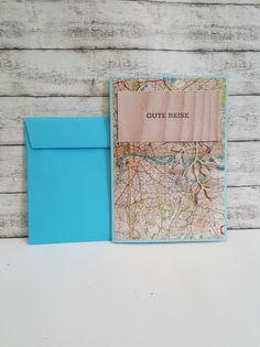 Glückwünsche - GUTE REISE Karte LANDKARTE & HOLZ - ein Designerstück von POMMPLA bei DaWanda