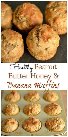 Peanut Butter & Honey Banana Muffins – Wholesomelicious Light and delicious muffins that the whole family will love! Also make a great lunchbox addition. Healthy Muffins, Healthy Desserts, Healthy Recipes, Healthy Drinks, Healthy Foods, Protein Recipes, Healthy Food Options, Healthy Cake, Protein Snacks
