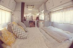 A charming before and after look at this caravan transformation