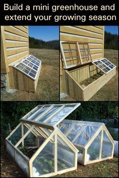 If you like the idea of extending your growing season, then this mini greenhouse is a great solution. The mini greenhouse / cold frame featured above is easy and simple to build with a size of Diy Greenhouse Plans, Backyard Greenhouse, Backyard Patio, Backyard Landscaping, Greenhouse Growing, Greenhouse Wedding, Homemade Greenhouse, Cheap Greenhouse, Backyard Ideas