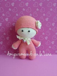 crochet tutorial for doll ♥ Free Crochet Bag, Crochet Dolls Free Patterns, Doll Amigurumi Free Pattern, Crochet Doll Pattern, Cute Crochet, Amigurumi Doll, Crochet For Kids, Crochet Doll Clothes, Knitted Dolls