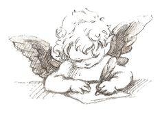 Decoupage schreibender Engel