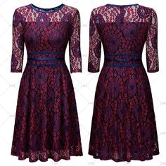 """This is a cute little vintage inspired dress. Made to bring back memories of yesterday, this little dress has a floral lace design. The dress has a rounded neck-line, 3/4 sleeve, a-line style, zipper in back and knee length. Made from70% Polyamide and 10% Cotton.    Available in sizes Small to 2XL (US 4 - 14) with the following measurements:    Small, US 4 - 6: Bust Range32.3"""" - 34.3"""", Waist 27.6"""", Shoulder Width 14.2"""", Dress Length 40.2""""    Medium, US 8: Bust Range34.3"""" - 36.2"""", Waist…"""