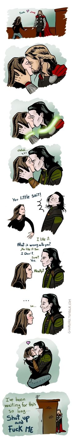 Alternative postcredit scene Thor 2 || I don't ship Lokane, but this was too funny hahahaha