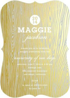 Gleaming Grad - #Graduation Invitations - Stacey Day - Gilded Brown wood design.