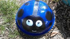 painted a stainless steel bowl. Stainless Steel Bowl, Soccer Ball, Bicycle Helmet, Ladybug, Colorful, Painting, European Football, Cycling Helmet, Painting Art