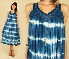 ViNtAgE 70's Indigo Tie Dye Grecian Goddess by hellhoundvintage, $98.00 @Kacy Lorraine