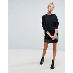 Weekday Vinyl Wrap Front Skirt (£39) ❤ liked on Polyvore featuring skirts, mini skirts, black, mini skirt, high-waisted skirt, high-waist skirt, vinyl mini skirt and high waisted skirts