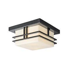 Plafonnier carré intérieur/extérieur en métal noir avec un verre blanc opale.