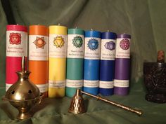 SET OF SEVEN Reiki Blessed Chakra Candles by Brigids Flame Candles rainbow, soy, meditation, healing