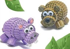 Hippo & Bear 3D Miniature Quilling Kit Ripple and Roll a hippo and bear 3D miniatures. www.customquilling.com