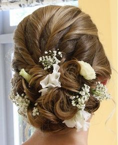 medium blonde straight coloured plaited updo bridal wedding rear-view Womens hairstyles for women Wedding Hair Flowers, Wedding Hair And Makeup, Flowers In Hair, Hair Makeup, Fresh Flowers, Up Hairstyles, Pretty Hairstyles, Wedding Hairstyles, Curly Hairstyle