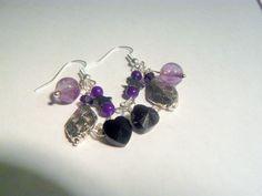 Purple and Black Dangle Earrings Sterling by RosysJewelsandYarns, $23.00