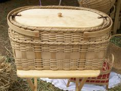 """Jim Philips. handmade baskets. Picnic Basket. 14"""" x 12"""" x 10"""" See this work and more at the Tennessee Craft Fair May 2-4, 2014 at Nashville's Centennial Park."""
