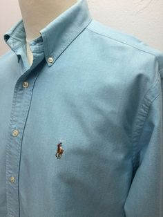 Polo #RalphLauren #Mens #Shirt Large Regular Fit Plain Aqua Blue #Oxford Cotton #menswear #mensfashion #mensstyle