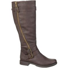 maurices Nancy Riding Boot In Brown ($59) ❤ liked on Polyvore featuring shoes, boots, brown, knee-high boots, knee boots, brown equestrian boots, low heel boots, knee high boots and faux leather riding boots