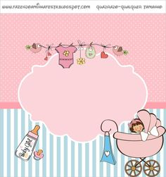 Baby Shower or Baby Shower Girl - Complete Kit with invitation frames, candy labels, party favors and pictures! Imprimibles Baby Shower, Baby Shower Invitaciones, Baby Shower Labels, Baby Shower Printables, Album Baby, Scrapbook Bebe, Candy Bar Labels, Baby Invitations, Baby Art