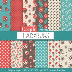 """Digital paper ladybug: """"LADYBUGS"""" digital paper pack with ladybugs, flowers and polkadot patterns in red, turquoise and brown"""