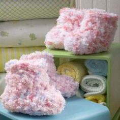 Fluffy Crocheted Cotton Candy Booties | FaveCrafts.com