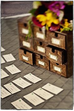 Literary WEdding ideas - LOVE the catlogged Seating Cards via http://onelovephoto.typepad.com