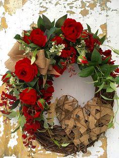 Valentine Wreath for Front Door Valentine's Day Wreath Etsy Wreaths, Xmas Wreaths, Wreaths For Front Door, Grapevine Wreath, Flowers For Valentines Day, Valentine Day Wreaths, Valentine Decorations, Summer Wreath, Spring Wreaths