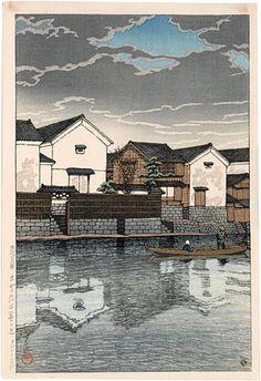 Kawase Hasui (1883-1957) Souvenirs of Travel-Third Series: Matsue in Izumo (Tabi Miyage Dai Sanshu: Izumo Matsue) A: Cloudy Day (Kumoribi)