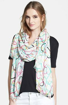 kate spade new york 'hand-drawn hearts' scarf available at #Nordstrom