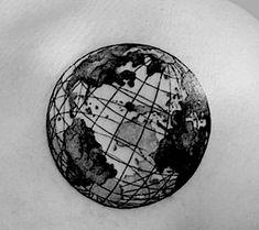 Globe Tattoos, World Map Tattoos, Black Tattoos, Small Tattoos, Scientific Tattoo, Erde Tattoo, Earth Drawings, Watercolour Tattoos, Tattoo Graphic