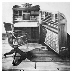 """DESK probably made by the Moore Combination Desk Company of Indianapolis, now in the President  Benjamin Harrison Memorial Home, Indianapolis. Height of carcase 48 inches; carcase width 42 inches; overall depth  14 inches; door depth 11 inches. Moore's patent indicated that the standing desk feature """"will probably be left off in  some instances.""""  (Photograph courtesy of the President Benjamin Harrison Memorial Home.)"""