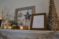 Scandinavian Christmas mantle by shimmer & shine... mixed metals, mercury glass, rustic  touches and anthro-inspired paper chain