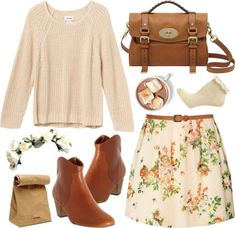 Cute spring outfir ideas - sweater ans floral skirt (I would choose better shoes). Campus Fashion: Ideal Outfits To Wear To Class Look Fashion, Fashion Outfits, Womens Fashion, Fashion Trends, Floral Fashion, Fashion Fashion, Looks Style, My Style, Wear To Class