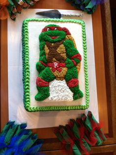 TMNT cake. Avery's 6th birthday cake-made from TMNT cake pan from 1989.