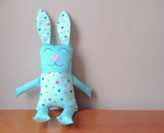 Turquoise Heart Print Plush Bunny, Bunny Plush, Rabbit Plush, Easter Bunny, Bunny Cushion, Home Decor, Animal Pillows, Nursery Decor, Kids Room Decor, Easter Gift, Baby Shower Gift, Birthday Gift, Gifts for Bunny Lovers, Woodland Animals