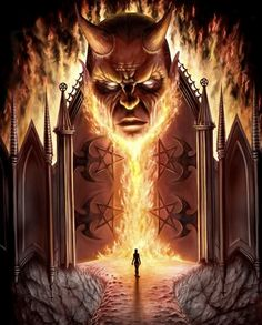""""""" myevilhalf: """" Almighty Satan I sincerely hope that when my time comes I can stand before you at the gates of Hell awaiting acceptance into your infernal kingdom. Dark Fantasy Art, Dark Art, History Channel, Divine Revelation, Gates Of Hell, Satanic Art, Ange Demon, Demon Wings, Arte Obscura"""